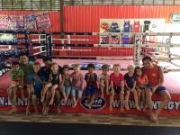 Alla var mycket nöjda och trötta efter thaiboxningen.